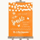 Orange Watercolour Lights Let Love Sparkle Sparkler Send Off Wedding Sign