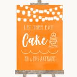 Orange Watercolour Lights Let Them Eat Cake Customised Wedding Sign