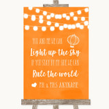 Orange Watercolour Lights Light Up The Sky Rule The World Wedding Sign