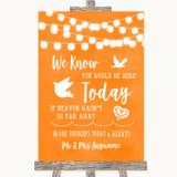 Orange Watercolour Lights Loved Ones In Heaven Customised Wedding Sign