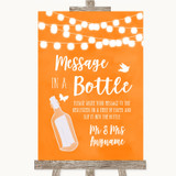 Orange Watercolour Lights Message In A Bottle Customised Wedding Sign