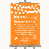 Orange Watercolour Lights No Phone Camera Unplugged Customised Wedding Sign