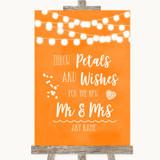 Orange Watercolour Lights Petals Wishes Confetti Customised Wedding Sign