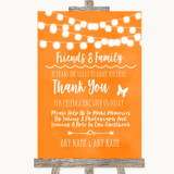 Orange Watercolour Lights Photo Guestbook Friends & Family Wedding Sign