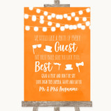 Orange Watercolour Lights Photo Prop Guestbook Customised Wedding Sign