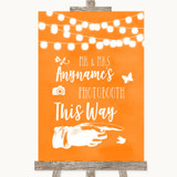 Orange Watercolour Lights Photobooth This Way Right Customised Wedding Sign