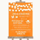 Orange Watercolour Lights Pick A Prop Photobooth Customised Wedding Sign
