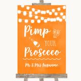 Orange Watercolour Lights Pimp Your Prosecco Customised Wedding Sign