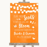 Orange Watercolour Lights Plant Seeds Favours Customised Wedding Sign