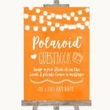 Orange Watercolour Lights Polaroid Guestbook Customised Wedding Sign