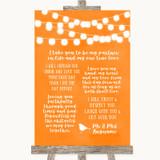Orange Watercolour Lights Romantic Vows Customised Wedding Sign
