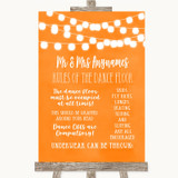 Orange Watercolour Lights Rules Of The Dance Floor Customised Wedding Sign