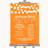Orange Watercolour Lights Rules Of The Wedding Customised Wedding Sign