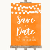 Orange Watercolour Lights Save The Date Customised Wedding Sign