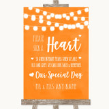 Orange Watercolour Lights Sign a Heart Customised Wedding Sign