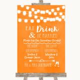 Orange Watercolour Lights Signature Favourite Drinks Customised Wedding Sign