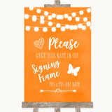 Orange Watercolour Lights Signing Frame Guestbook Customised Wedding Sign