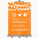 Orange Watercolour Lights Social Media Hashtag Photos Customised Wedding Sign