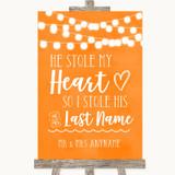 Orange Watercolour Lights Stole Last Name Customised Wedding Sign