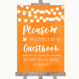 Orange Watercolour Lights Take A Moment To Sign Our Guest Book Wedding Sign