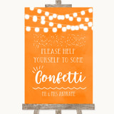 Orange Watercolour Lights Take Some Confetti Customised Wedding Sign