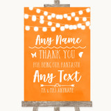 Orange Watercolour Lights Thank You Bridesmaid Page Boy Best Man Wedding Sign
