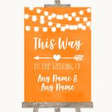 Orange Watercolour Lights This Way Arrow Left Customised Wedding Sign