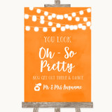 Orange Watercolour Lights Toilet Get Out & Dance Customised Wedding Sign