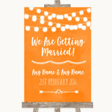 Orange Watercolour Lights We Are Getting Married Customised Wedding Sign