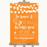 Orange Watercolour Lights Wedding Blanket Scarf Customised Wedding Sign