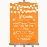 Orange Watercolour Lights Welcome Order Of The Day Customised Wedding Sign