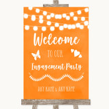 Orange Watercolour Lights Welcome To Our Engagement Party Wedding Sign