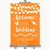Orange Watercolour Lights Welcome To Our Wedding Customised Wedding Sign