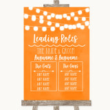 Orange Watercolour Lights Who's Who Leading Roles Customised Wedding Sign