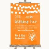 Orange Watercolour Lights Wishing Tree Customised Wedding Sign