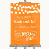 Orange Watercolour Lights Wishing Well Message Customised Wedding Sign
