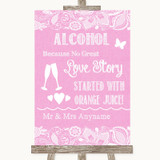 Pink Burlap & Lace Alcohol Bar Love Story Customised Wedding Sign
