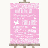 Pink Burlap & Lace All Family No Seating Plan Customised Wedding Sign