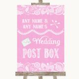 Pink Burlap & Lace Card Post Box Customised Wedding Sign