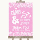 Pink Burlap & Lace Cards & Gifts Table Customised Wedding Sign