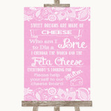 Pink Burlap & Lace Cheese Board Song Customised Wedding Sign