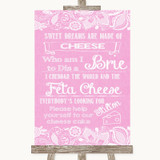 Pink Burlap & Lace Cheesecake Cheese Song Customised Wedding Sign
