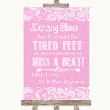 Pink Burlap & Lace Dancing Shoes Flip-Flop Tired Feet Customised Wedding Sign