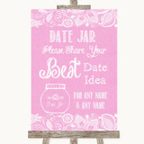 Pink Burlap & Lace Date Jar Guestbook Customised Wedding Sign