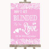 Pink Burlap & Lace Don't Be Blinded Sunglasses Customised Wedding Sign