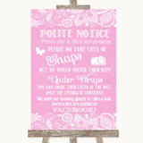 Pink Burlap & Lace Don't Post Photos Facebook Customised Wedding Sign