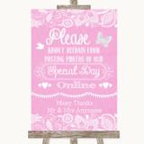 Pink Burlap & Lace Don't Post Photos Online Social Media Wedding Sign