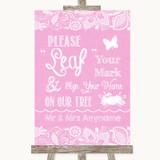 Pink Burlap & Lace Fingerprint Tree Instructions Customised Wedding Sign