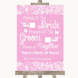 Pink Burlap & Lace Friends Of The Bride Groom Seating Customised Wedding Sign