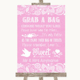 Pink Burlap & Lace Grab A Bag Candy Buffet Cart Sweets Customised Wedding Sign